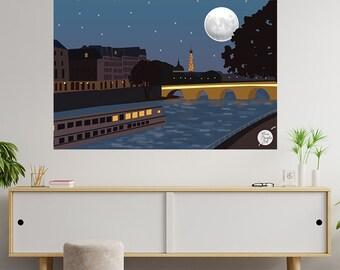 Paris at Night Illustration , Paris Art , Seine Poster , Home Decor , Digital Download , Paris Seine Decor , Wall Art