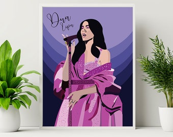 Dua Lipa Poster , Dua lipa Grammys Outfit , Home Decor , Dua lipa Illustration , Digital Print , Digital Download , Art Decor