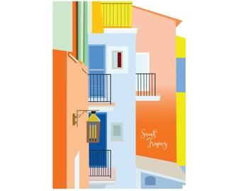 Saint Tropez Illustration , Home Decor , Saint Tropez Poster , Decorative Art , A3 , Digital Art , Digital Download