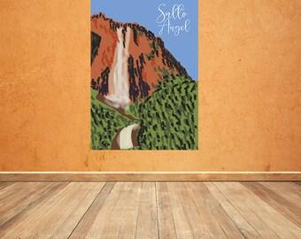 Salto Angel Poster , Decorative Art , Wall Art , Digital Download Print , Home decor , Venezuela Illustration