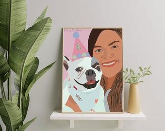 Custom Portrait,custom drawing, digital download,personalized illustration, personalized gift, family portrait, portrait drawing, custom