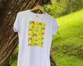 Guacamaya T-Shirt , Travel Design , Venezuela Art , Tropical Yellow T shirt , Gift , Guacamaya Illustration Pattern, Animal Pattern