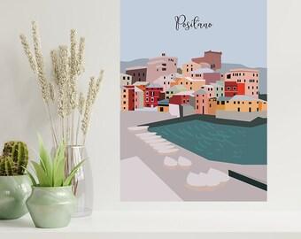 Positano Poster , Travel Poster , Italy Illustration , Decorative Art , Home decor , Wall Art , Positano Italy Print