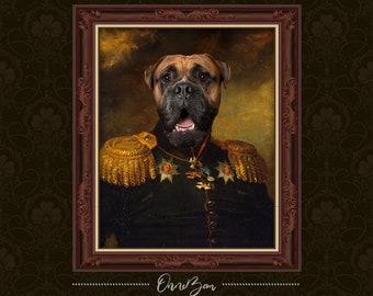 Custom Renaissance Military Pet Portrait | 18th Century Pet Portrait | Royal & Classic Pet Portrait | Unique Gift | Funny Gift | MV1