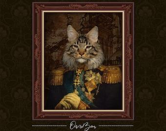 Custom Renaissance Military Pet Portrait | Custom Cat Portrait | Royal and Classic Pet Portrait | Unique Gift | Funny Gift | MV2