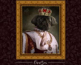 Custom Pet King Portrait . Custom Renaissance Pet King Portrait . Custom Classic King Portrait . Royal Pet Portrait . King Portrait . KiV2