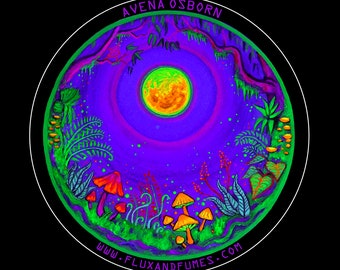 Web of Life - Psychedelic Forest Vinyl Sticker, circular, waterproof
