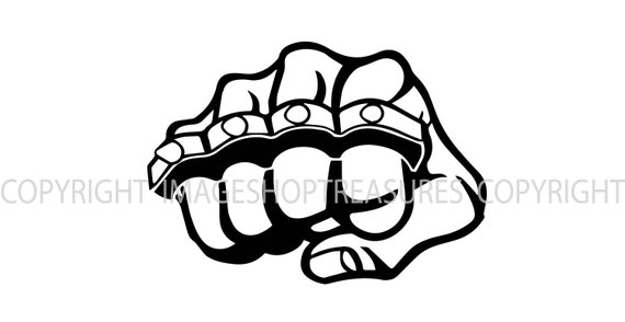 Brass Knuckles Fist Logo Thug Gangster Street Fight Fighting Etsy