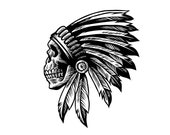 Indian Chief Skull Tribal Mascot Head Dress Native American Biker Tattoo Grim Reaper Logo.SVG .PNG Clipart Vector Cricut Cut Cutting File