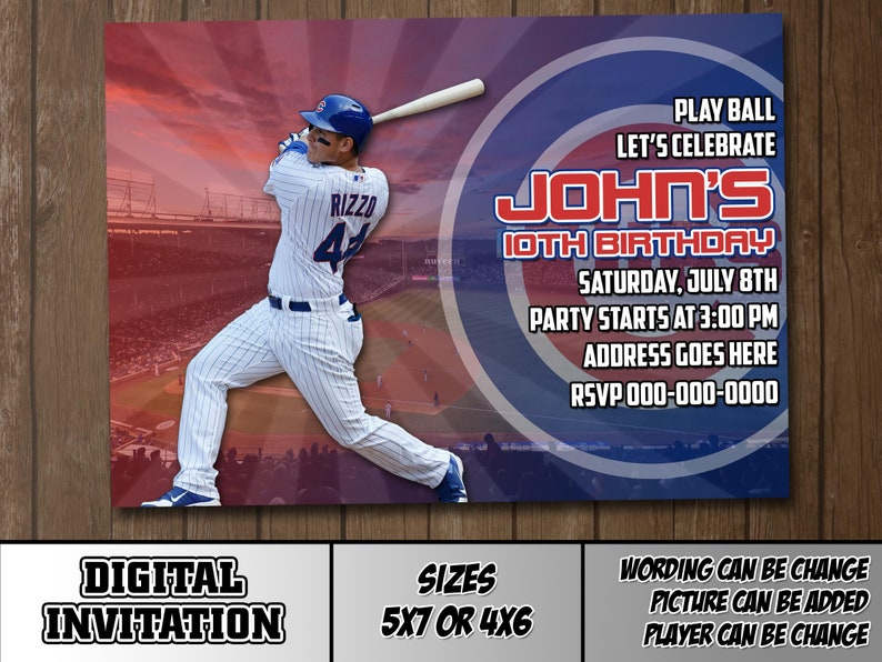 Classic Chicago Cubs Ticket Style Sports Party Invitations