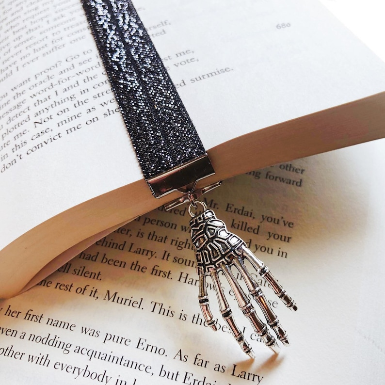 Elastic Bookmark with Skull Hand Charm image 0