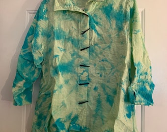purple and pink and white acid washed tie dye vintage women\u2019s sweatersweatshirt tunic duster or cardigan