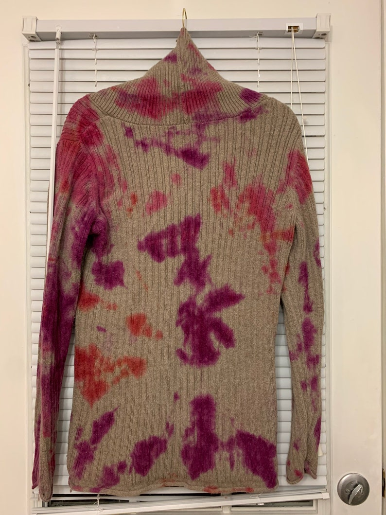 acid washed tie dye vintage sweater brown and red and purple and pink
