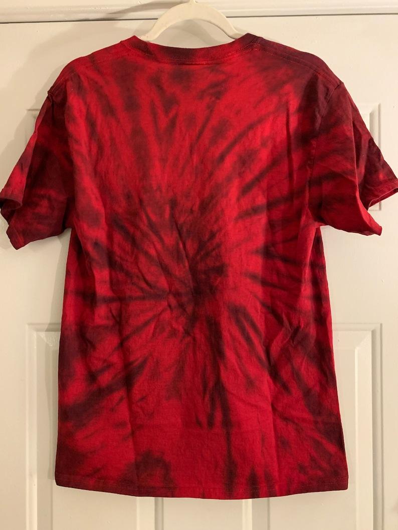 books acid washed tie dye vintage short sleeve t-shirt red and black \u201cimagine your story\u201d