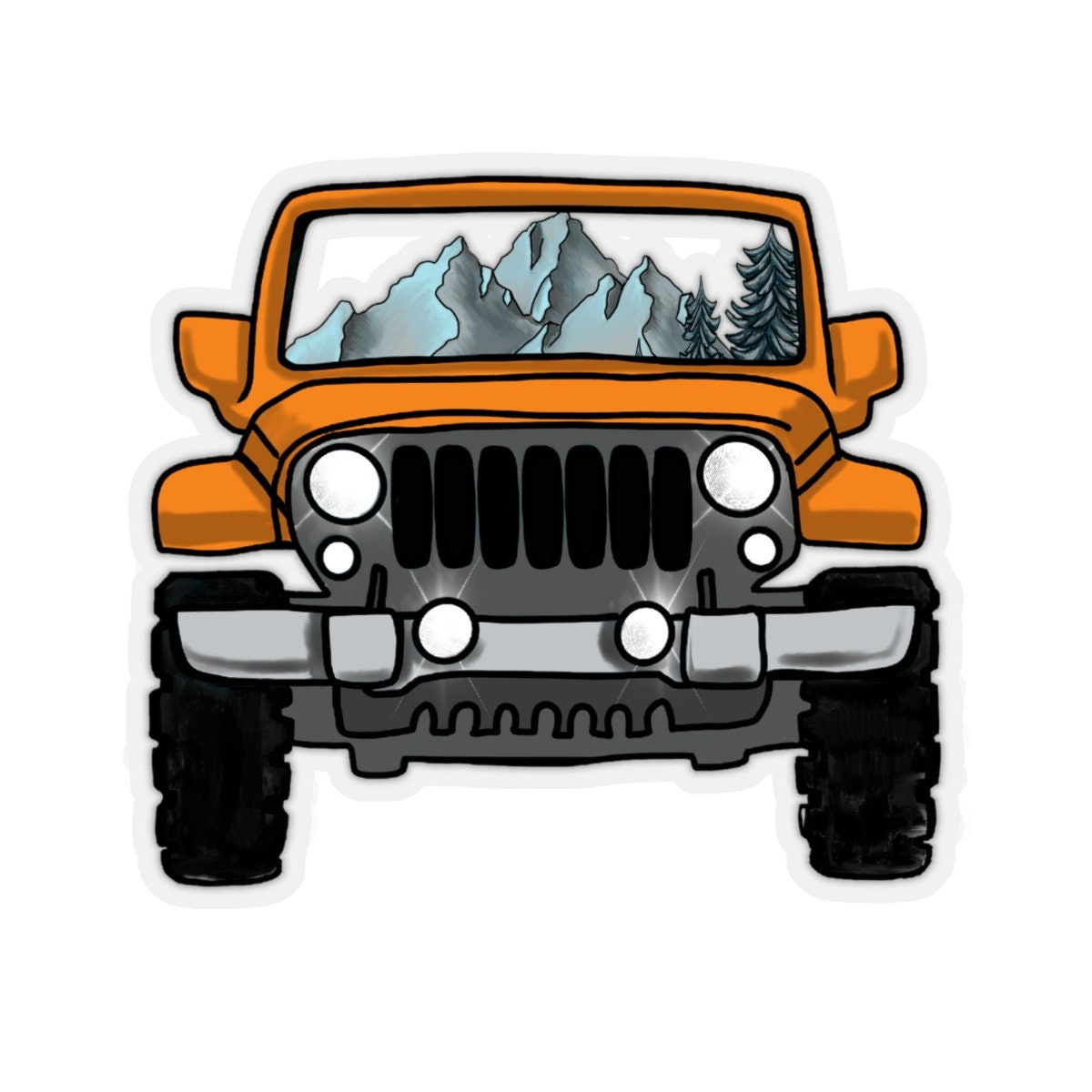Orange jeep sticker jeep life jeep wrangler hydroflask stickers jeep sticker orange stickers
