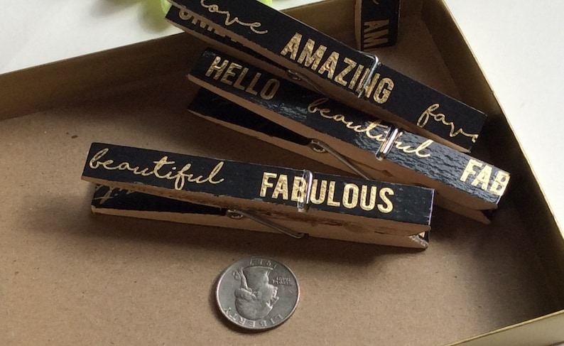 Black and gold Decorated wooden clothespins Great gift!