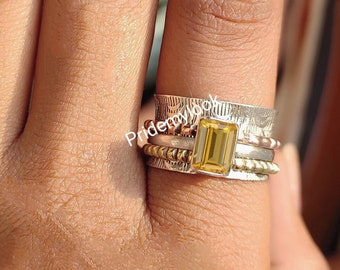 Gemstone Ring Anxiety Ring Gift For Women Citrine Coffin Ring 925 Sterling Silver Ring Meditation Ring Wide Ring Yellow Stone Ring