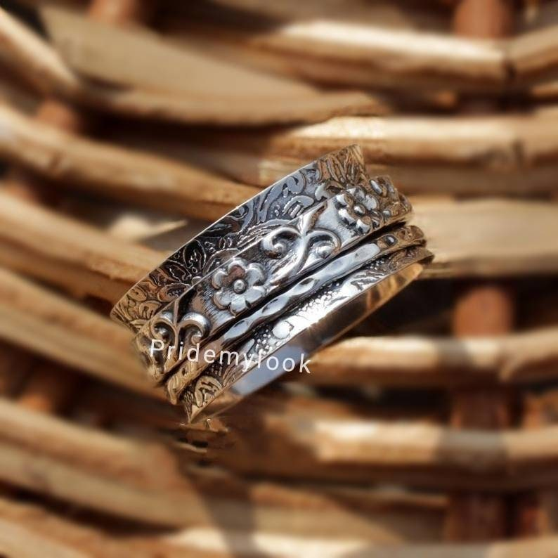 Wedding Ring Spinning Ring Ring For Women Silver Boho Ring Stress Relieving Meditation Oxidized Spinner Ring Etsy Sale Anxiety Ring