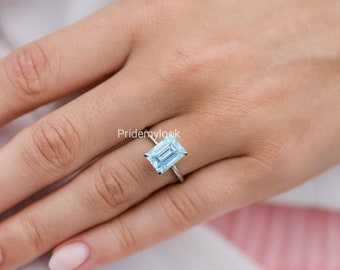 Blue Topaz Ring, Rectangle Ring, Delicate Gemstone Ring, 925 Sterling Ring, Ring for Woman, Gift for Her, Wedding Ring, Birthday Present