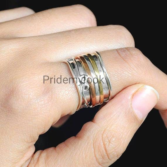 925 Sterling Silver Spinner Ring for Woman Wedding Ring Meditation Ring Anxiety Relief Ring Personalized Jewelry Narrow Silver Ring