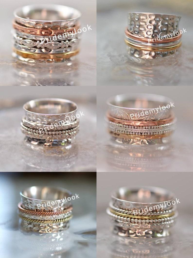6 PCs Lot Of Spinner Rings Fidget Ring,Stress Relief Ring,Bulk PCs Ring Meditation Ring,Boho Ring Anxiety Ring,Worry Rings,Gift Ring,Sale