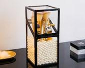 Makeup Brush Holder with White Pearls Cosmetic Storage Box Makeup Brushes Organizer Lipsticks Holder Cosmetics Drawer Box