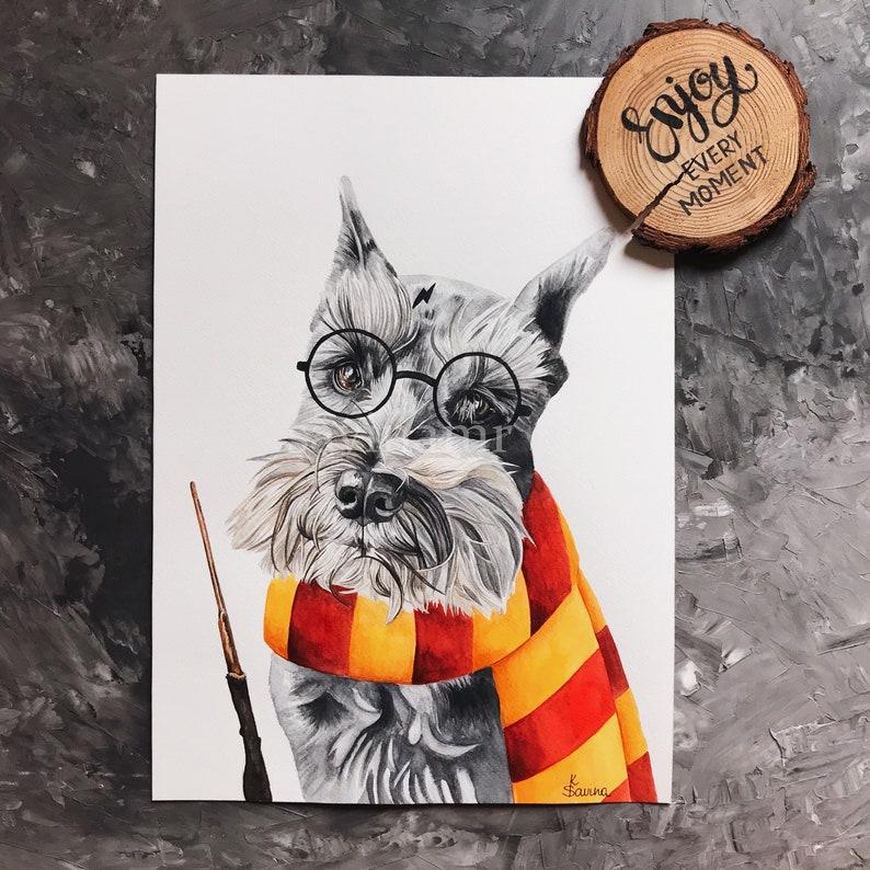 Custom pet portrait Harry Potter Christmas gift Custom dog portrait Gift dog mom Harry Potter pet portrait Gryffindor gifts