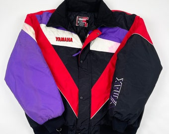 Vtg 1990s Motorsports Coat USA Ladies Colorblock Insulated Free Shipping Vintage 90s Yamaha Racing Jacket Womens Medium