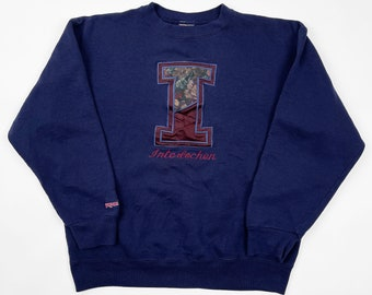 XSS Vintage Re-Worked Alabama Crop Hoodie Upcycled Red College Sweatshirt 90s