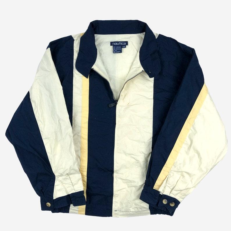 Free Shipping Men/'s Large Vtg 1990s Grunge Splatter Streetwear Boat Lil Yachty Vintage 90s Nautica Challenge Striped Light Jacket