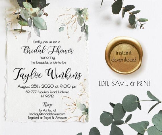 Edit /& Print Editable Wedding Template Instant Download Printable Wedding Shower Invite Greenery Bridal Shower Invitation Couple Shower