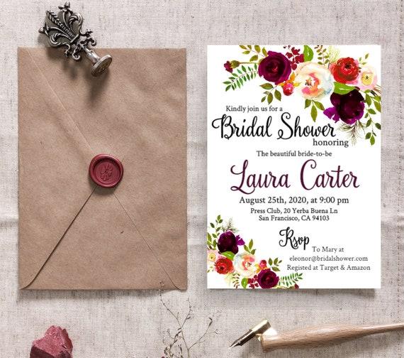 Leaves #vmt33 White Peony Shower Floral Bridal Invitation Template Electronic Eco Friendly Evite Garden Paperless Digital Brunch