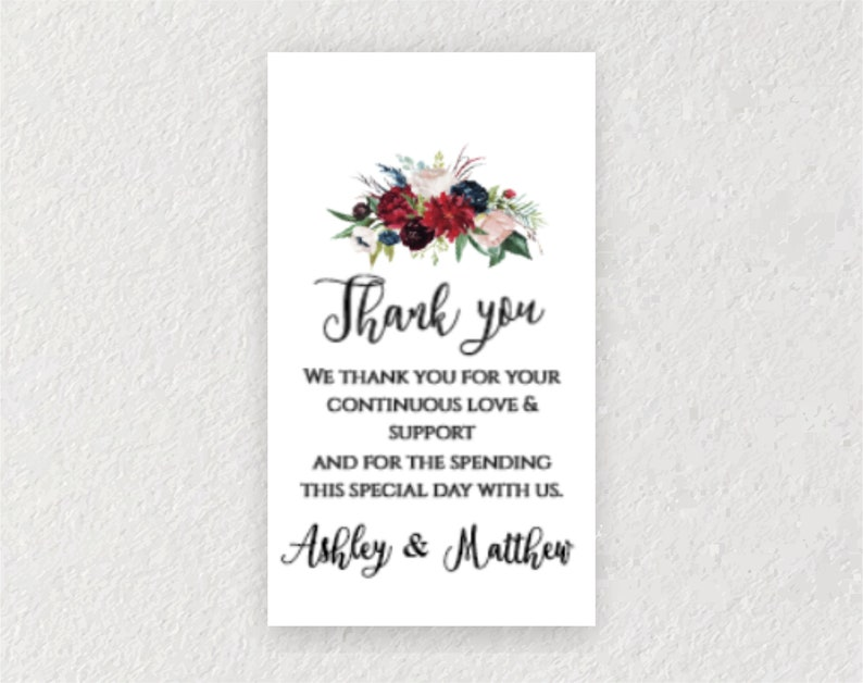 Wedding Favor Tag Template Wedding Tags INSTANT DOWNLOAD Navy Blush Floral 0101 Burgundy Thank You Favor Tag Editable Welcome Bag Label