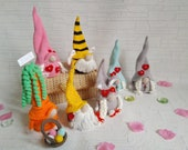 Gnomes collection, Bunny Gnome, Turquoise Gnome, Pink Gnome, Yellow Gnome, Gray Gnome with hearts, Bee Gnome, Gnome Carrot with basket