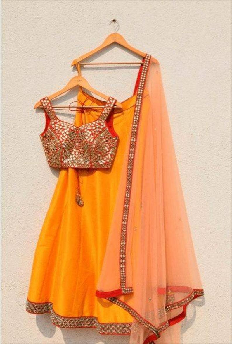 Custom fit in custom colors heavy exclusive mirror work lehenga party wear ethnic crop top lehenga
