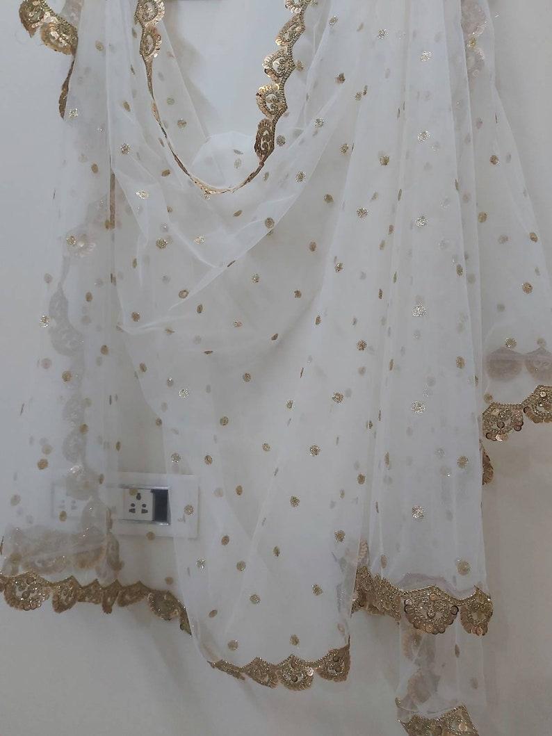 Custom made srquin work net dupattas in custom colors stole scarf shawl embroided dupattas bridal dupatta veil