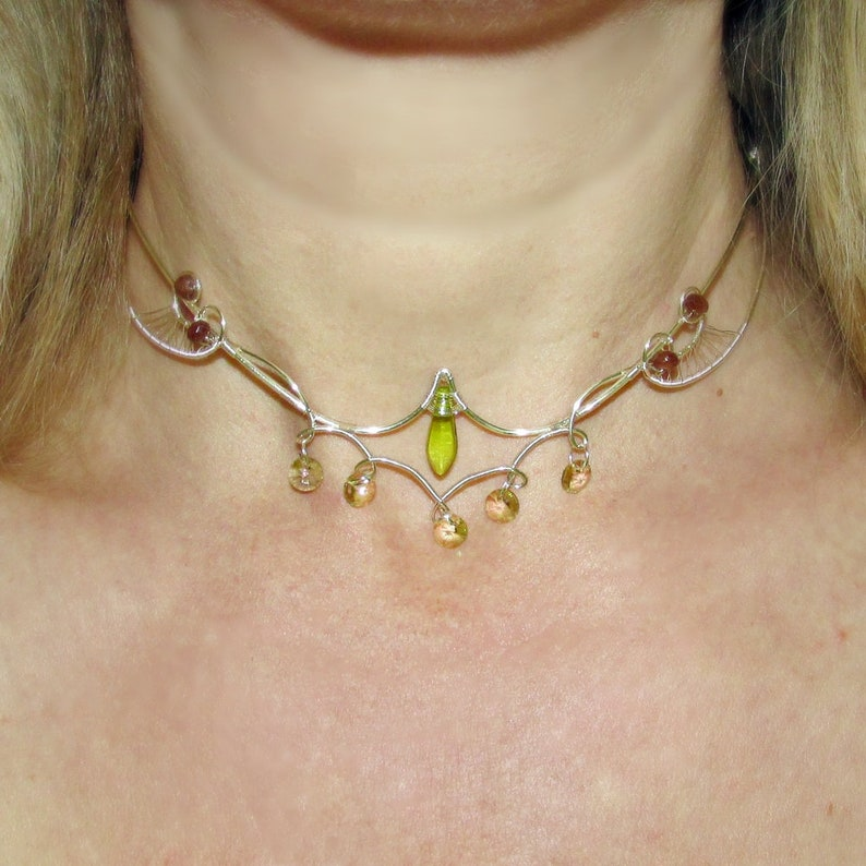 Sylvan Whispers necklace Green and Silver necklace elven image 0