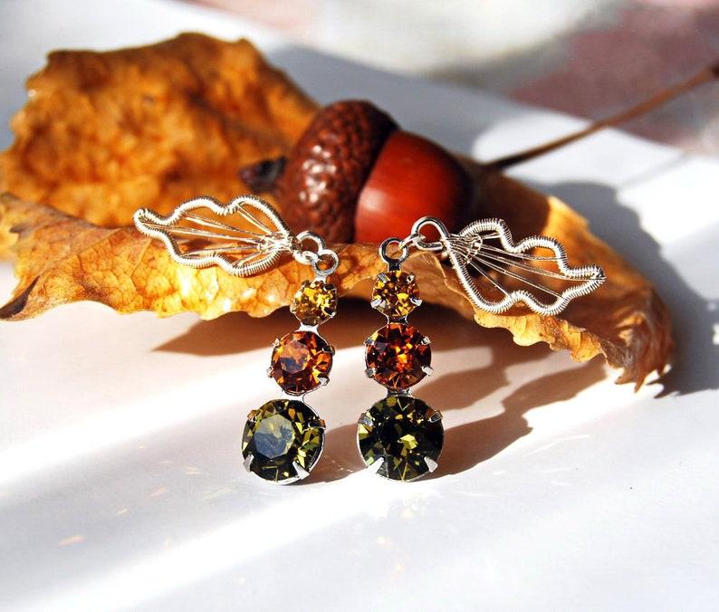 Sweet Autumn earrings wire wrapped stud earrings autumn image 0