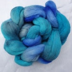 Kent Romney - Hand Dyed Wool Tops/Roving - 50g - SUMMER SKIES - British Wool