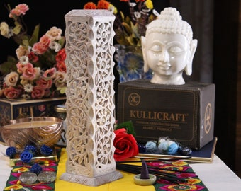 Marble Incense Holder   Candle Stick Burner   Handmade Soapstone Tower Insence Stand For Yoga And Meditation. Home Decor (11 inches).