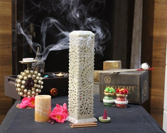 Incense Holder   Candle Stick Burner   Handmade Marble Soapstone Insence Stand For Yoga And Meditation. Tower For Home Decor (11 inches).