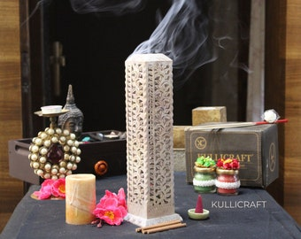 Incense Holder   Candle Stick Burner   Handmade Marble Soapstone Tower Insence Stand For Yoga And Meditation. Home Decor (11 inches).