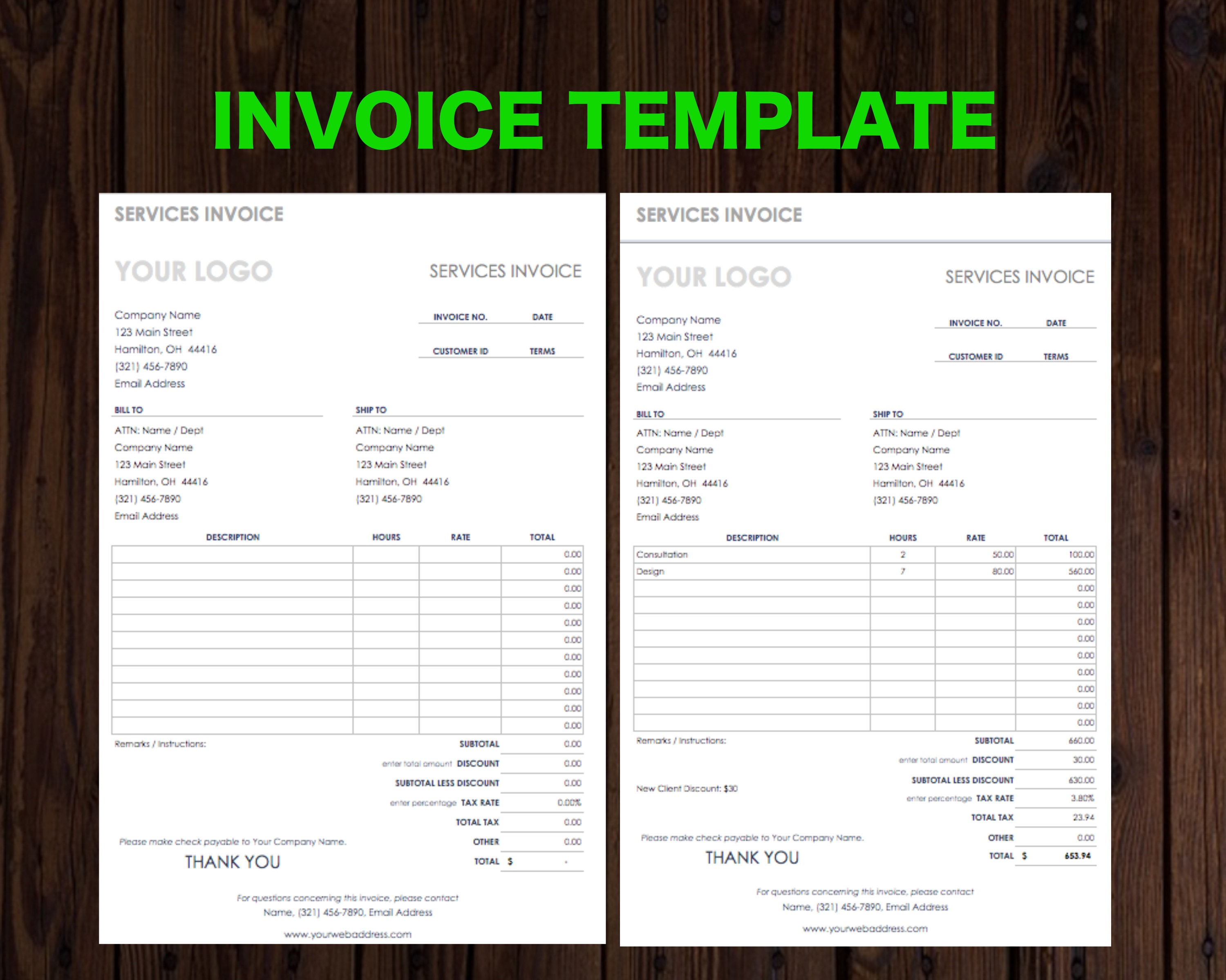 Printable Invoice Template Receipt Billing Statement Blank Etsy