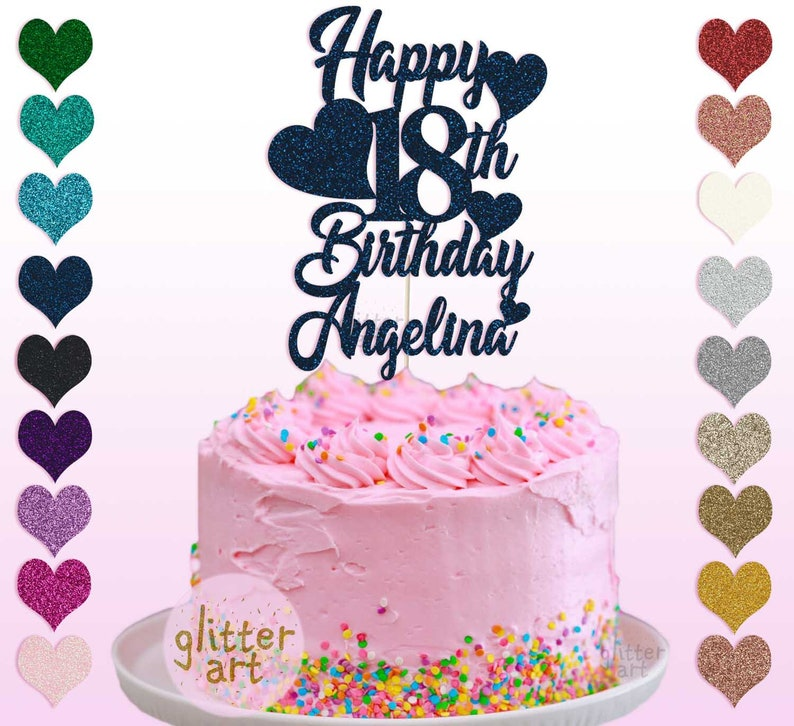 Personalised Cake Topper Happy 18th Birthday Angelina Debut Party Any Name Glitter