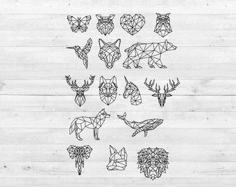Geometric Animal Art Etsy