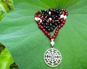 Tantra Union Mala - 108 beads - Ruby, Smokey Quartz, Howelite