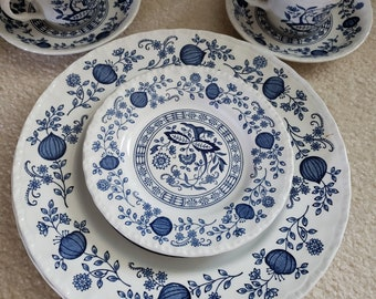 Wedgwood Tunstaller Cup and Saucer made in England Blue Heritage Pattern