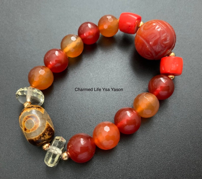 Carved Carnelian Lemon Quartz Red Corals Three Eye DZI Protection and Good luck Charm Bracelet