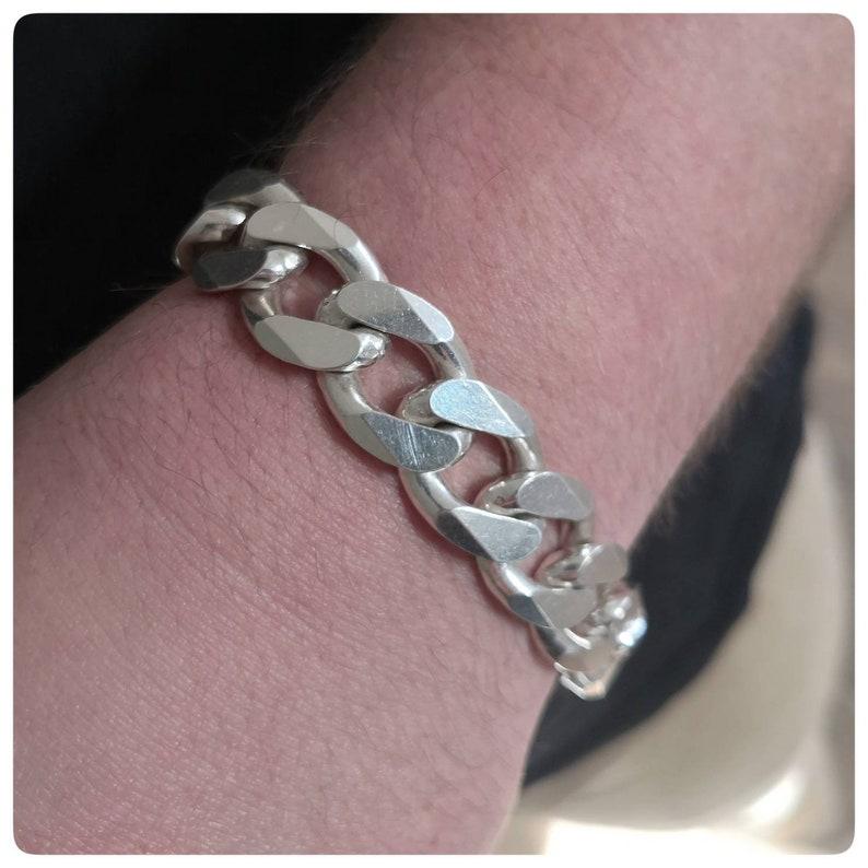 Thick /& Chunky Cuban chain 16 mm links bracelet Sterling Silver heavy men bracelet