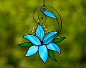 Stained glass blue lily window hanging, flower suncatcher, Christmas flower gift